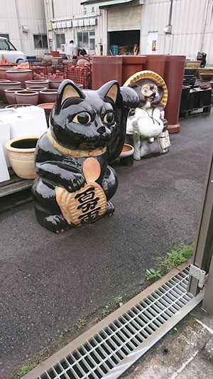 黒い招き猫とタヌキ。