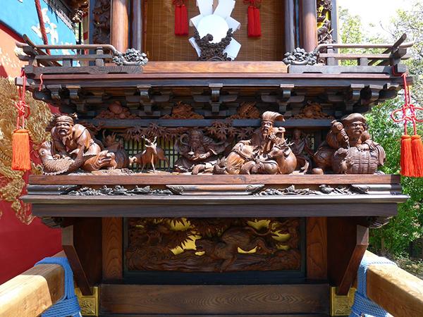 西組御福車 壇箱題材「七福神」初代彫常作