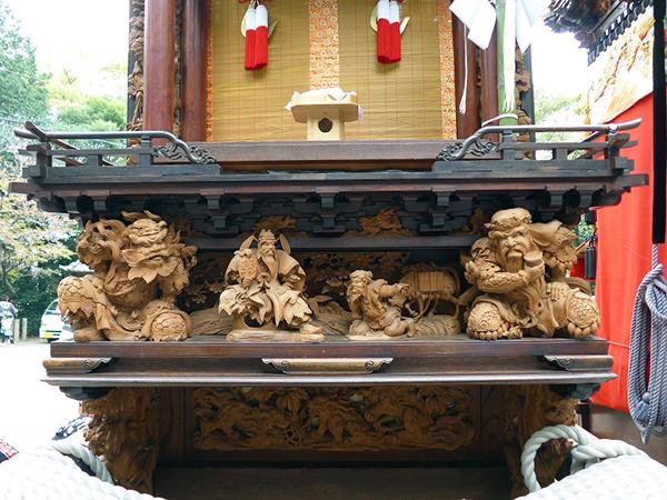 彦洲組日之出車 壇箱題材「桃園の三英傑」初代彫常作