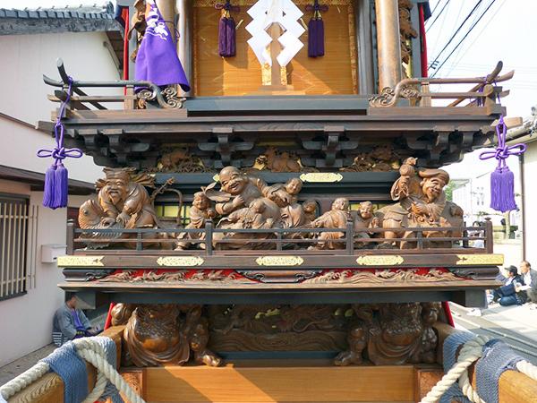 本板山組本子車 壇箱題材「七福神」初代彫常作