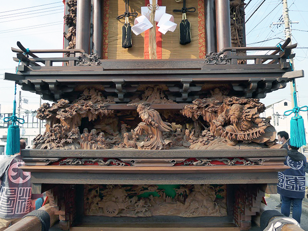 小板組旭車 壇箱題材「天之岩戸」初代彫常作