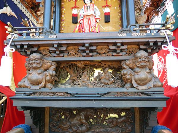 東組山王車 壇箱題材「力神、王処仙人隠栖」初代彫常作