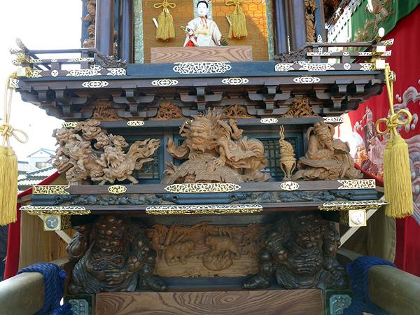 南組護王車 壇箱題材「護王の夢物語」初代彫常作