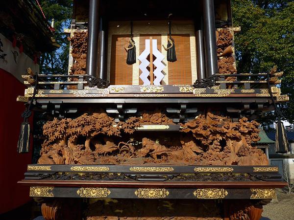 西山神楽車 壇箱題材「稲穂に鶴」「天照大神神馬」「獅子神楽」初代彫常作