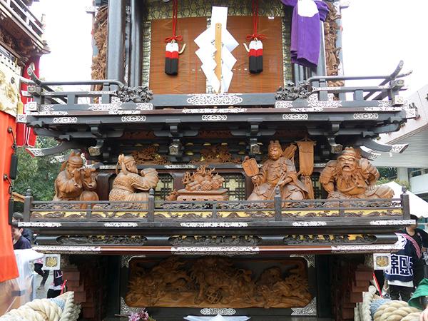 北組唐子車 壇箱題材「三韓征伐宝物受取りの図」初代彫常作