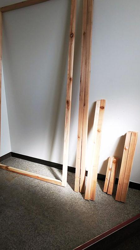 骨組み部分の木材